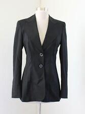 Escada Womens Solid Black Wool Stitched Trim Blazer Jacket Size 34