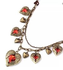 Retro Bronze Gift Box / Bag Betsey Johnson Necklace Red Heart Crystals And