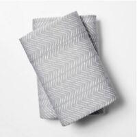 Room Essentials Gray White Chevron Print Jersey Pillowcase Set King Size