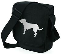 Lurcher Bag Silver Dog on Black Shoulder Bags Handbags Birthday Mothers Day Gift