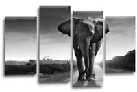 "ELEPHANT SUNSET Canvas Wall Art Picture Brown Grey Black Split Multi 4 Panel 44"""