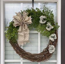 """Year Round 18"""" Greenery Door Wreath W/ Wreath Hanger Grapevine"""