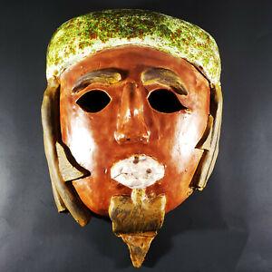 Vintage Ceramic Pottery Tribal Ethnic Grotesque Man Mask Handmade Halloween Deco