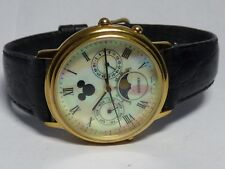XL Disney Quartz Watch Moon Phase Gold Tone Leather - Working