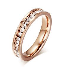 Women Rose Gold Plating Crystal Ring Wedding Engagement Cz Band 4Mm Size 5-10