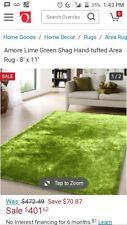Rug Factory Plus - Lime green hand tufted hand woven, shag 5x7 ft.
