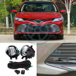 For Toyota Camry 2018-2020 LED DRL Fog Lights Driving Lamps w/ Harness Swith Set