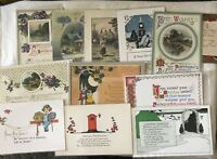 Arts & Crafts Vintage GREETINGS POSTCARDS 1900's BIRTHDAY XMAS NEW YEAR 12 Lot
