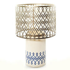 New Yankee Candle Blue Argyle Lamp Jar Pillar Holder Home Collection In Box