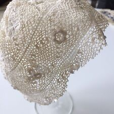 Antique Irish Lace Baby Doll Bonnet Prim Costume Dolls Art Scrap