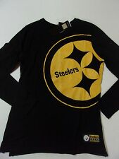 NWT Womens Pittsburgh Steelers Black Long Sleeve Bold Logo Shirt Size Large