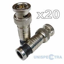 20 x BNC macho compresión Conectores Adaptadores para RG59 CCTV Coaxial Cable