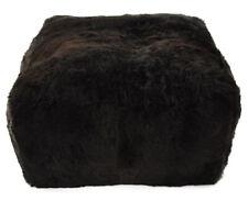 Eco Lambskin Pouf 60 x 60 x 30 cm Black Cube Stool Floor Cushion Foot Stool