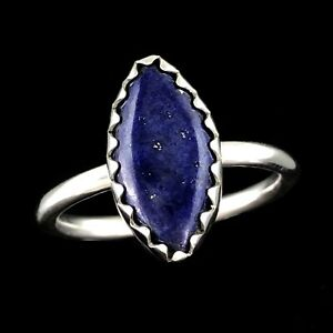 HANDCRAFTED 925 Sterling Silver Marquise Cut Blue Lapis Lazuli Bezel Set Ring