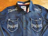VTG Destined to Roar Womens Shirt Sz Large Denim Look Embroider Rhinestones B40