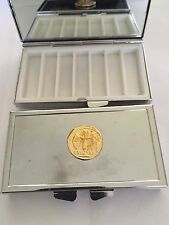 Aureus Of Ceasar Coin WC81 Gold Pewter On Mirrored 7 Day Pill box Compact