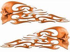 "Tribal Skull Flame Decals Orange Helmet or Motorcycle 8"" REFLECTIVE FL11"