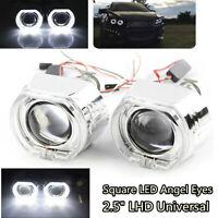 "2Pcs 2.5"" Square LED Angel Eyes Halo DRL Bi Xenon Projector Lens Kit for H4 H7"