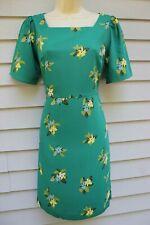 NWT Ann Taylor Green Print Short Sleeve Square Neck Dress 10