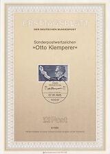TIMBRE FDC ALLEMAGNE BERLIN OBL ERSTTAGSBLATT OTTO KLEMPERER  1985