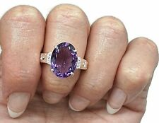 Amethyst & Natural White Zircon Ring, 4 Sizes, Sterling Silver, 6.5 carats