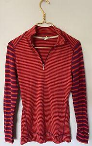 Smartwool Merino Wool 1/4 Zip Long Sleeve Fitted Pullover Red Stripe Medium