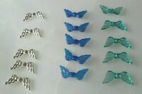 ANGEL Wings Beads x15 for Jewellery making Silver Teal Blue Findings UK seller