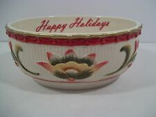 Fitz and Floyd HAPPY HOLIDAYS - Woodland Holiday Sentiment Bowl - OVAL