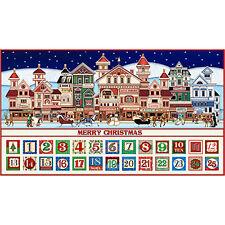 Santa Coming To Town Christmas Advent Calendar Fabric Panel High Quality Cotton