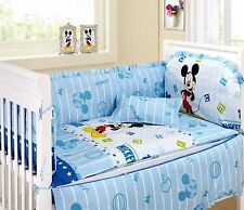 Baby Bedding Crib Cot Quilt Bumpers Sheet Sets -- 9 Piece Mickey Mouse Theme New