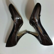 CARVELA Womens Court Shoes Size 39 6 Leather Shiny Career Chic High Heel Brown