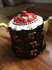 Mary Engelbreit Cherry Full Size Tea Pot Me Inc Michel & Company 2001