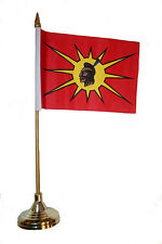 """MOHAWK -FIRST NATIONS 4""""X 6"""" inch stick flag with GOLD STAND on 10"""" plastic pole"""