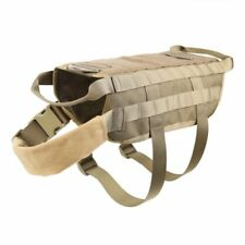 Tactical Police Dog Training Molle Vest Harness Brown XL T8M1