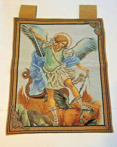 Saint Michael Woven Tapestry Wall Hanging Religious Tapestry