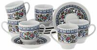 Turkish Coffee Cups and Saucers (6 Sets) 12 Pieces Ottoman Greek Espresso New UK