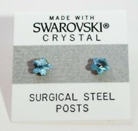 Blue Flower Stud Earrings 5mm Small  Light Crystal Made with Swarovski Elements