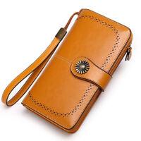 RFID Cash Card Holder Clutch Zip Purse Handbag Women Genuine Leather Long Wallet