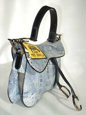 Auth Christian Dior Trotter Double Saddle Hand Bag Denim Print Canvas 860b8774393fe