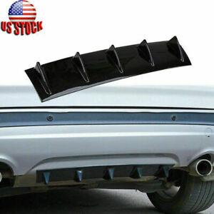Car Rear Lower Bumper Lip 5 Shark Fin Black Diffuser Spoiler Guard Universal