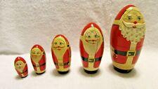 Collectible Santa Claus Handmade Wood Nesting Set of 5