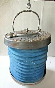 Antique Turkish Copper Blue Canvas Folding Concertina Candle Lantern