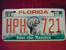 """1996 Florida """"Save the Manatee"""" License plate with Manatee image"""