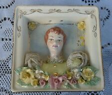 Vintage Figural Victorian Lady Wall Hanging Porcelain Picture 1940's