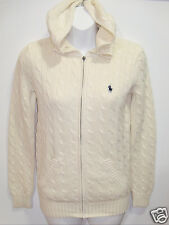 NWT Womens Ralph Lauren Polo Cable Knit Full Zip Hooded Jacket Sweater M Cream
