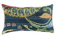 Oreiller Indien Coton Oiseau Floral Kantha Coussin Housse Broderie Handmade
