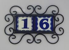 2 BLUE Mexican Ceramic Number Tiles & Horizontal Iron Frame