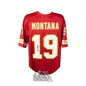 Joe Montana Autographed Kansas City Chiefs Custom Football Jersey - BAS COA