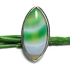 60ct Funky Ring Botswana Lace Agate Gemstone 925 Sterling Silver Plated Size 7.5