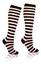 Baby Pink and Black Knee High Striped Cotton Socks Costume Womens Party Fun Tall
